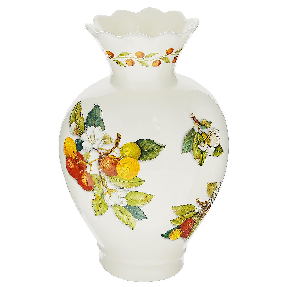 Ваза для цветов Nuova Cer Итальянские фрукты, высота 31 смNC7438-CEM-ALВаза для цветов Nuova Cer Итальянские фрукты изготовлена из высококачественной керамики и украшена красочным изображением фруктов. Такая оригинальная ваза прекрасно оформит интерьер дома, офиса или дачи. Подойдет как для декора, так и в качестве вазы для цветов. Высота вазы: 31 см.Размер по верхнему краю: 12,5 см х 10,5 см.Размер основания: 10,5 см х 10 см.Общий размер вазы: 20 см х 14,5 см х 31 см.