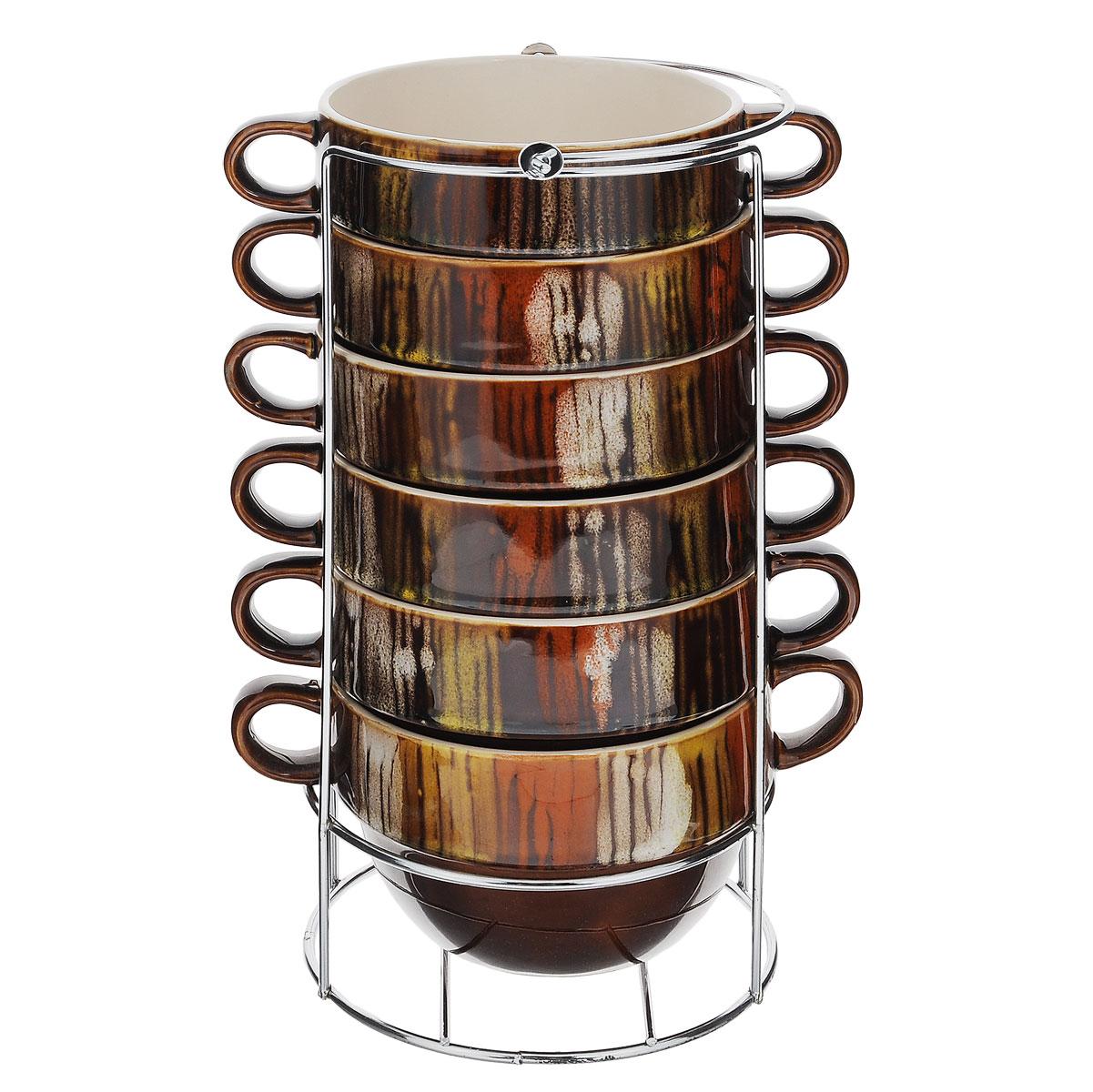 Набор пиал Bekker, 500 мл, 7 предметовBK-7366Набор Bekker состоит из 6 пиал с ручками и подставки. Пиалы выполнены из высококачественной жаропрочной керамики, покрытой блестящей глазурью без примесей кадмия и свинца. Внешние стенки коричневого цвета оформлены оригинальным орнаментом. Пиалы очень вместительны, их можно использовать для подачи супа, каш, хлопьев и т.д, а также в качестве салатников. В комплекте имеется специальная металлическая подставка с хромированной поверхностью. Для удобства переноски на подставке предусмотрена ручка. Пиалы подходят для использования в микроволновой печи, духовом шкафу. Также изделия можно чистить в посудомоечной машине. Объем пиалы: 500 мл. Диаметр пиалы (по верхнему краю): 12 см. Высота стенки: 8 см. Размер подставки (ДхШхВ): 13 см х 13 см х 27,5 см.