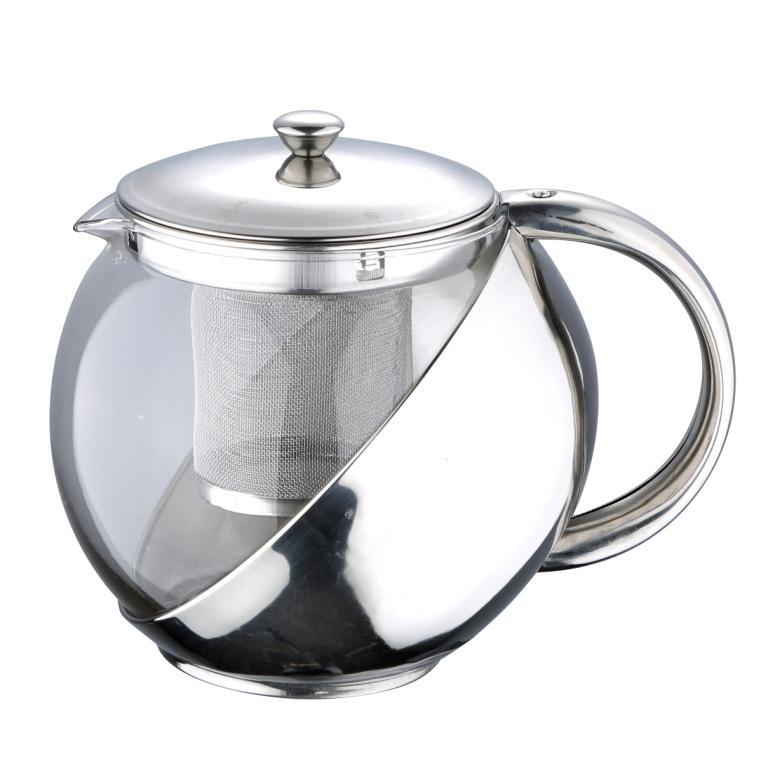 """Чайник заварочный Wellberg """"Trendy"""" предназначен для заваривания чая и трав. Корпус изготовлен из жаропрочного стекла и нержавеющей стали с зеркальной полировкой. Чайник оснащен съемным ситечком и крышкой. Чайник """"Wellberg"""" - качественное исполнение и стильное решение для вашей кухни.   Диаметр (по верхнему краю): 9,5 см. Высота стенки: 12 см. Высота фильтра: 10 см."""