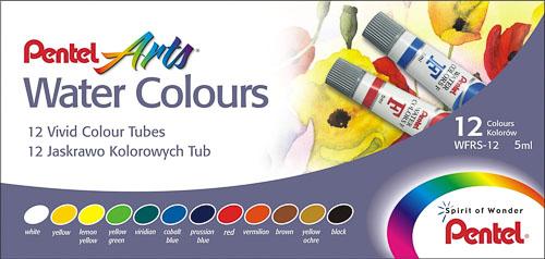 """Акварель Pentel """"Water Colours"""", 12 цветов"""
