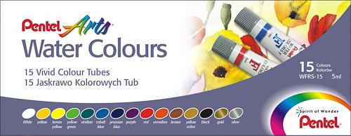 Акварель Pentel Water Colours, 15 цветовWFRS-15Акварельные краски Pentel Water Colours помогут воплотить в жизнь любые художественные замыслы на занятиях в школах, детских садах, художественных кружках или дома. Яркие насыщенные цвета делают процесс рисования более увлекательным. В набор входят краски 15 цветов в пластиковых тубах. Краски не выгорают, не трескаются при высыхании, легко смешиваются. Кисточка в комплект не входит. Количество цветов: 15. Размер тюбика: 7 см х 1,5 см.