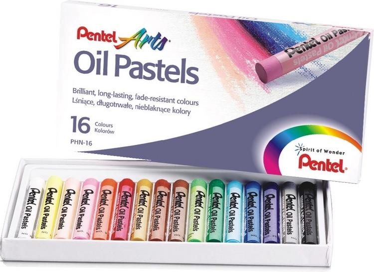 Пастель масляная Pentel  Oil Pastels , 16 цветов. PHN-16 -  Мелки и пастель