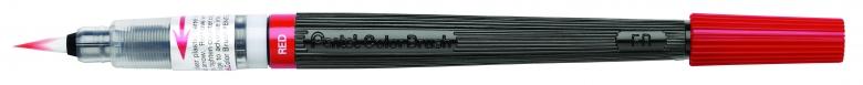 Кисть с краской Pentel Colour Brush, цвет: красныйXGFL-102Кисть с краской Pentel Colour Brush предназначена для работы в акварельной технике. Наконечник кисти изготовлен из высококачественного нейлона, что позволяет наносить краску не только штрихами и тонкими линиями, но и закрашивать целые фрагменты. Яркий слой краски ложится мягко и сохнет очень быстро. Смешиванием разных красок можно добиться необычного эффекта. При добавлении воды цвет становится намного нежнее и появляется мягкость и тонкость переходов цвета. Кисть содержит сменный картридж FR с чернилами на водной основе. Длина кисти: 18 см.
