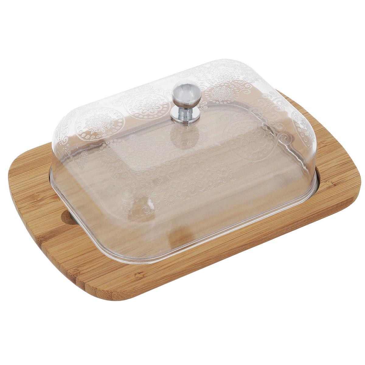 Масленка Mayer & Boch. 2351923519Масленка Mayer & Boch прекрасно подходит для хранения масла и сервировки стола. Масленка состоит из прямоугольного бамбукового подноса и прозрачной пластиковой крышки, украшенной изысканным узором. Крышка плотно устанавливается на поднос.Масленка сохранит сливочное масло свежим как в холодильнике, так и на обеденном столе. Прекрасное дополнение для любой кухни.Размер подноса: 18,5 см х 12 см х 1 см.Размер крышки: 13,5 см х 10 см х 4 см.