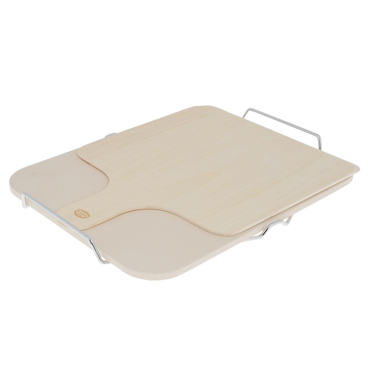 Камень для выпечки Dr.Oetker, с подставкой и лопаткой, 30 см х 38 см2469Камень для выпечки Dr.Oetker выполнен из жаропрочной каменной керамики, имеет прямоугольную форму с закругленными углами и предназначен для выпекания кулинарных изделий. Назначение пекарского камня - обеспечить равномерный прогрев теста по всему его объему, выпекаемого в духовке. Поры камня содержат в себе воздух, обладающий высокими теплоизоляционными свойствами, что уравнивает температуру в духовом шкафу и не позволяет выпечке пригорать снизу. При использовании пекарного камня нижняя корочка приятно румянится, становится хрустящей. В комплекте подставка с ручками из нержавеющей стали и деревянная лопатка.Камень для выпечки Dr.Oetker станет незаменимым атрибутом на кухне каждой хозяйки. Размер камня: 30 см х 38 см х 1 см.Размер подставки: 41 см х 32 см х 3,5 см.Размер лопатки: 29,5 см х 38,5 см х 0,5 см.