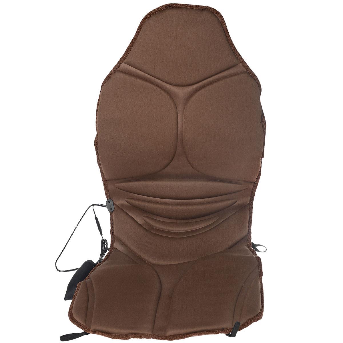 Накидка массажная на сиденье Sapfire, с обогревом, 117 см х 49 смSCH-0450Накидка на сиденье Sapfire выполнена из полиэстера и предназначена для сиденья в автомобильное кресло. Если вы проводите длительное время за рулем, то массажная накидка вам просто необходима. Установите ее на кресло и подарите себе расслабляющий и оздоровительный массаж. Пульт позволяет задать скорость, интенсивность и вид массажа. Функция подогрева усиливает эффективность процедуры. Преимущества массажной накидки Sapfire:- 5 массажных точек (шея, левая часть спины, правая часть спины, левая нога, правая нога); - таймер на 15 минут, 30 минут и 60 минут;- режим циркулирующего массажа;- функция обогрева; - пульт управления с контролем интенсивности; - эргономичная форма сиденья; - упругий наполнитель удобно поддерживает тело.Напряжение: 12V DC.Энергопотребление моторов: 0,84W, 70ma - один мотор.Нагревательный элемент: 3,6W, 300ma.Термостат: 65±5°C.Размер накидки: 117 см х 49 см.Уважаемые клиенты!Обращаем ваше внимание, что накидка работает от прикуривателя автомобиля.