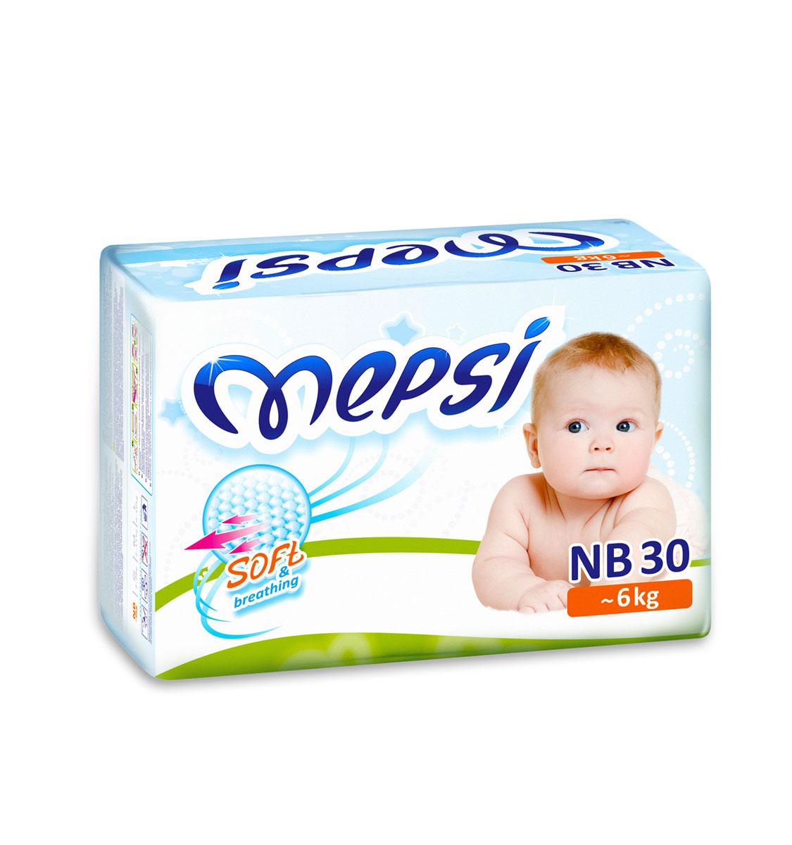 Mepsi Подгузники NB, до 6кг, 30 шт mepsi подгузники 4 9 кг 54 шт
