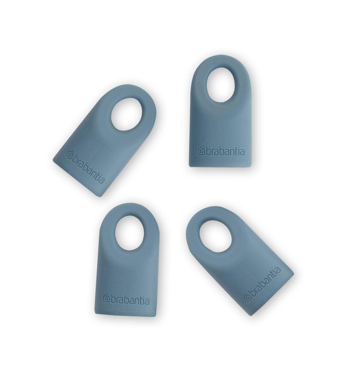 Силиконовые колпачки Brabantia Accent, цвет: голубой, 4 шт464027Съемные силиконовые колпачки для кухонных принадлежностей серии Accent. Новый цветовой акцент – просто смените колпачок. Удобная очистка – можно мыть в посудомоечной машине.