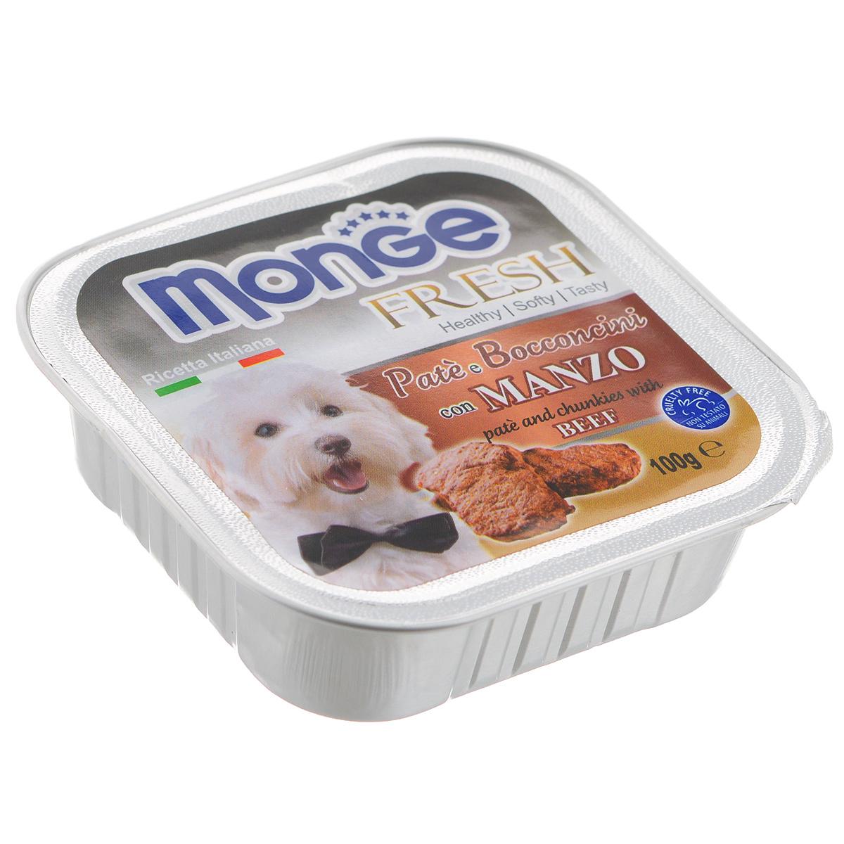 Консервы для собак Monge Fresh, с говядиной, 100 г monge корм для собак monge monoproteico solo паштет оленина конс 150г