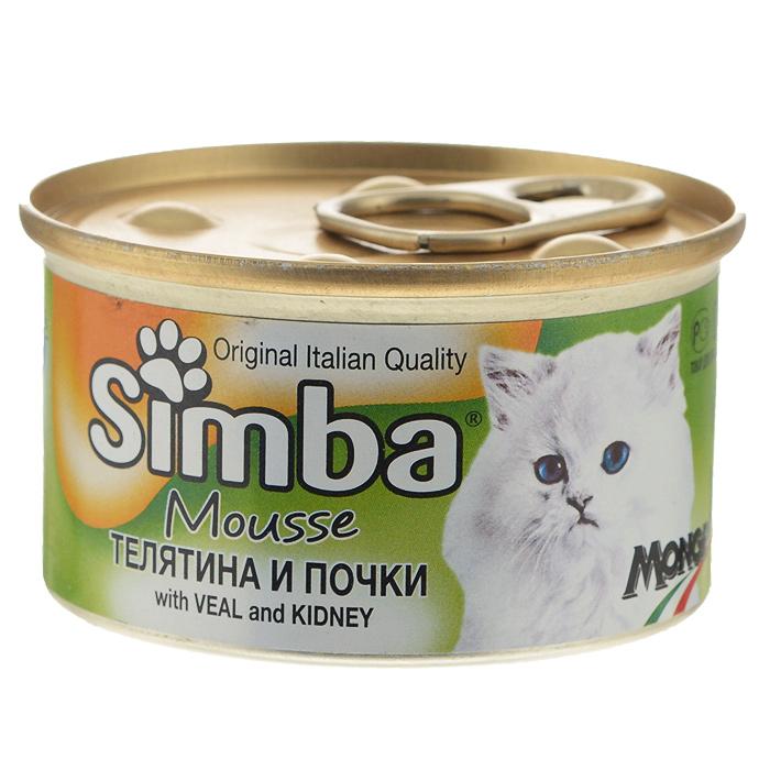Консервы для кошек Monge Simba, мусс с телятиной и почками, 85 г консервы для собак зоогурман фрикадельки с телятиной 850 г