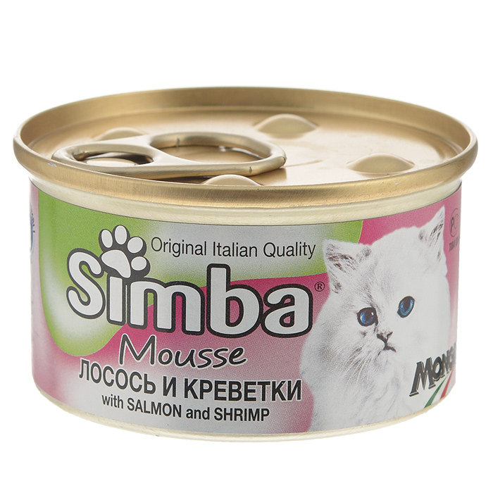 Консервы для кошек Monge Simba, мусс с лососем и креветками, 85 г70009430Консервы для кошек Monge Simba - это полноценный сбалансированный корм для кошек. Мусс с лососем и креветками. Ежедневная норма для кошки среднего размера (3-4 кг) - 400 г. Порцию можно разделить на несколько приемов.Состав: рыба и рыбные субпродукты (лосось 7%, креветки 7%), мясо и мясные субпродукты, злаки, минеральные вещества. Анализ компонентов: сырой белок 11%, сырой жир 2,5%, сырая клетчатка 0,5%, сырая зола 2%, влажность 78%.Витамины и добавки на 1 кг: витамин D3 250 МЕ, витамин Е 5 мг, загустители, желирующие вещества. Товар сертифицирован.