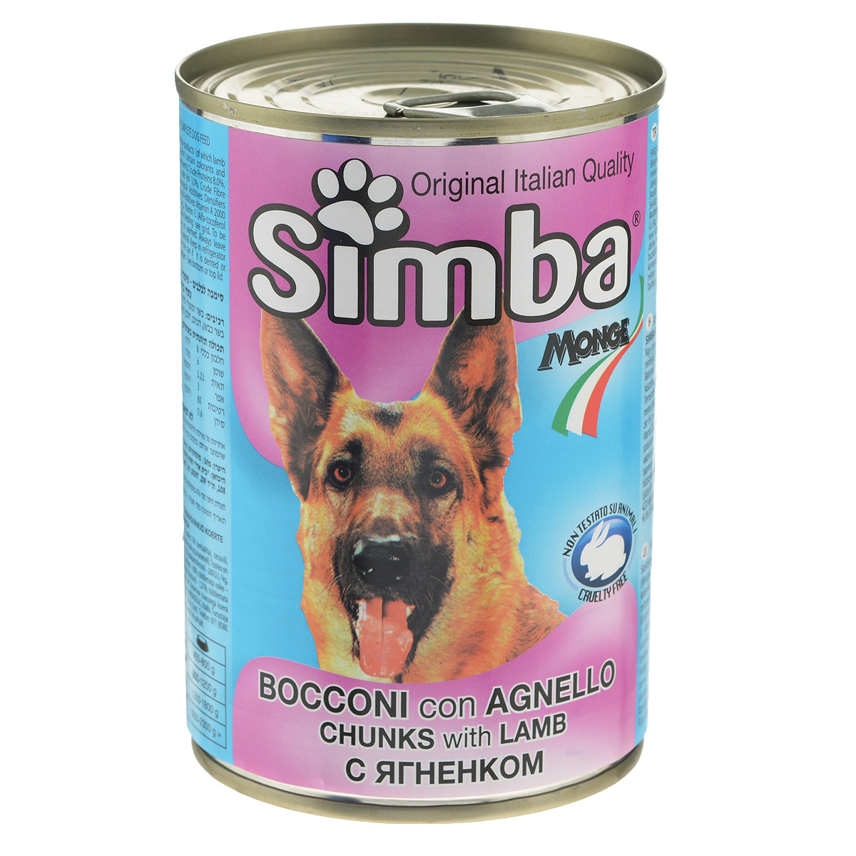 Консервы для собак Monge Simba, кусочки с ягненком, 415 г
