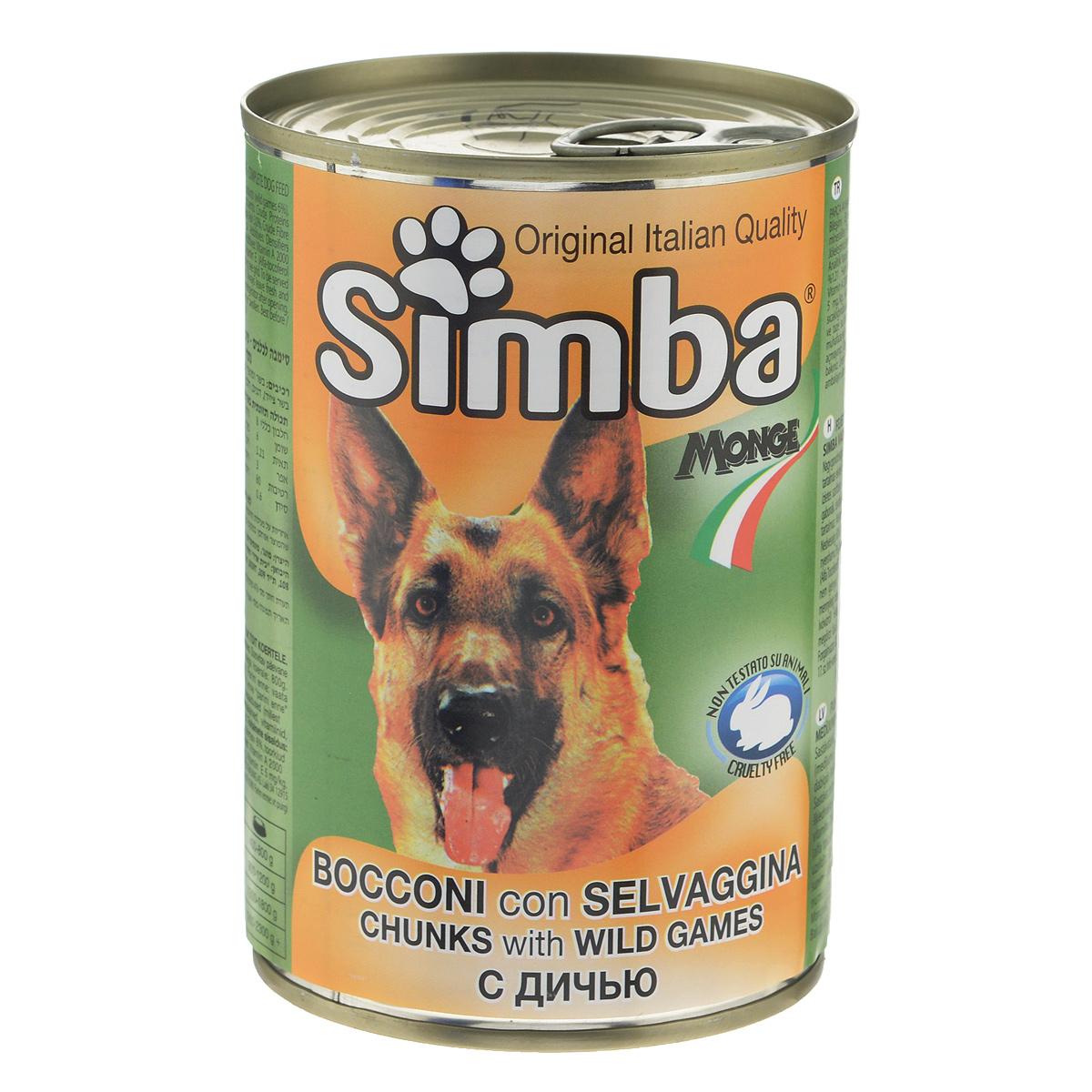 Консервы для собак Monge Simba, кусочки с дичью, 415 г минеральные добавки серии северянка в москве