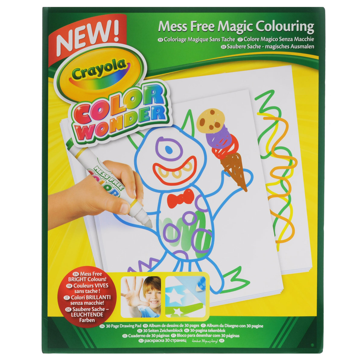 Бумага для рисования Crayola Color Wonder75-2143Бумага для рисования Crayola Color Wonder - замечательный выход из ситуации, когда ребенок любит рисовать на мебели, обоях и других поверхностях.Бумага изготовлена из высококачественного сырья с использованием современных технологий и не вызывает аллергию.В комплекте 30 листов бумаги высокой плотности. Обратите внимание, что на необычной бумаге Color Wonder можно рисовать только аксессуарами из серии Color Wonder (маркерами, фломастерами, красками).Color Wonder – одна из серий продукции Crayola. В эту линейку входят фломастеры и маркеры, которые не оставляют следов на одежде, стенах, руках ребенка, а рисуют лишь на специальной бумаге. Подобный подход к творческому процессу позволяет обеспечить максимальный комфорт как во время, так и после рисования. Больше не нужно оттирать одежду и мебель, испачканную краской!