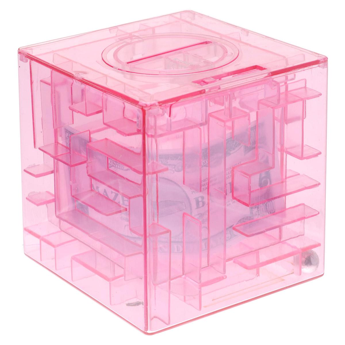 Копилка-головоломка Эврика Лабиринт, цвет: розовый92677Копилка Лабиринт - это самая настоящая головоломка. Она изготовлена из высококачественного пластика. Чтобы достать накопленные денежки, необходимо провести шарик по запутанному пути.Копилка Лабиринт - оригинальный способ преподнести подарок. Положите купюру в копилку, и смело вручайте имениннику. Вашему другу придется потрудиться, чтобы достать подаренную купюру. Копилка имеет отверстие, чтобы класть в нее деньги. Размер копилки: 9 см х 9 см х 9 см.