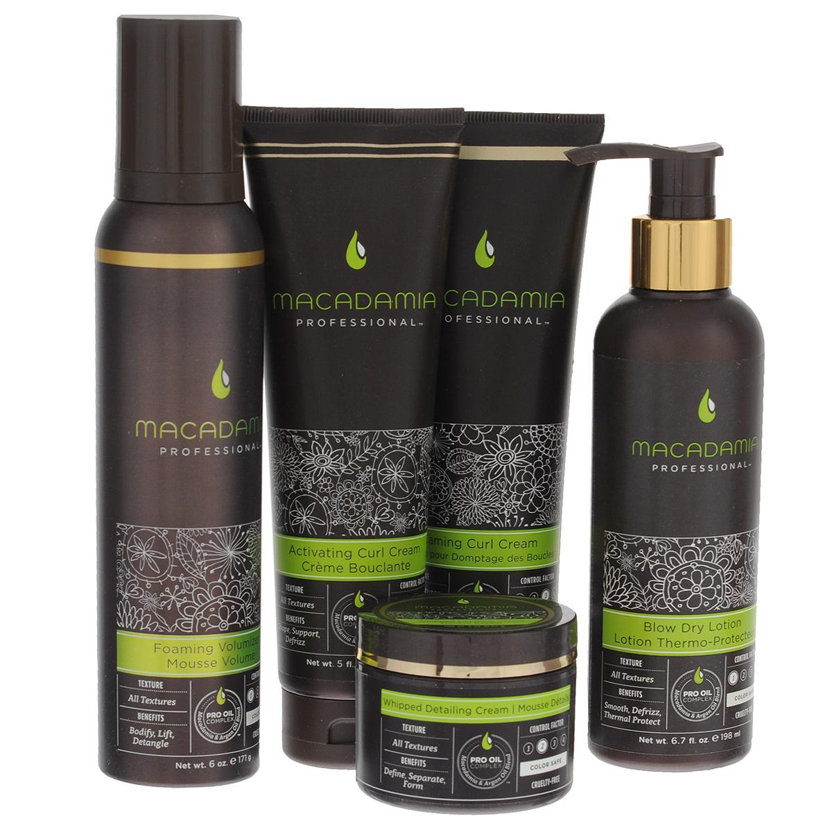 Macadamia Natural Oil Подарочный набор для волос Styling Collection: мусс для создания объема, лосьон для укладки, легкой фиксации, крем-суфле, текстурирующий, крем-активатор для кудрей, крем для кудрей, смягчающий600100Все средства линии стайлинга Macadamia содержат терапевтическую смесь масел макадамии и арганы, которая увлажняет и восстанавливает волосы, придавая им здоровый блеск, упругость и управляемость. Укрепляют и защищают волосы от вредного воздействия окружающей среды, сохраняют цвет окрашенных волос. Набор Styling Collection включает в себя следующие продукты:Мусс для объема (Foaming Volumizer): воздушный мусс, который добавляет слабым безжизненным волосам массу и объем, не утяжеляя их и не оставляя налета или эффекта склеивания. Облегчает расчесывание, контролирует пушистость, делает волосы гладкими, мягкими, блестящими и упругими. С термозащитным действием. Сохраняет цвет окрашенных волос, не содержит агрессивных компонентов. Лосьон для укладки (Blow Dry Lotion): разглаживает, устраняет пушистость и защищает от влажности. Увлажняет волосы, не утяжеляя их. Обеспечивает легкое скольжение пряди при укладке феном, уменьшая степень повреждений при расчесывании. С термозащитным действием. Сохраняет цвет окрашенных волос, не содержит агрессивных компонентов. Крем смягчающий для кудрей (Taming Curl Cream): создает объемные, разделенные, мягкие на ощупь волны и кудри. Контролирует непослушные кудри, не делая их жесткими. Борется с влажностью, контролирует пушистость - для безупречного, законченного образа. Сохраняет цвет окрашенных волос, не содержит агрессивных компонентов. Крем-суфле текстурирующий (Whipped Detailing Cream): воздушный крем для подчеркивания отдельных прядей, создания разделенной, разнообразной текстуры без утяжеления. Оставляет волосы естественными на вид и на ощупь. Добавляет гладкость, убирает пушистость. Устраняет излишки жира для создания объемной укладки. Идеален для завершения образа. Сохраняет цвет окрашенных волос, не содержит агресси