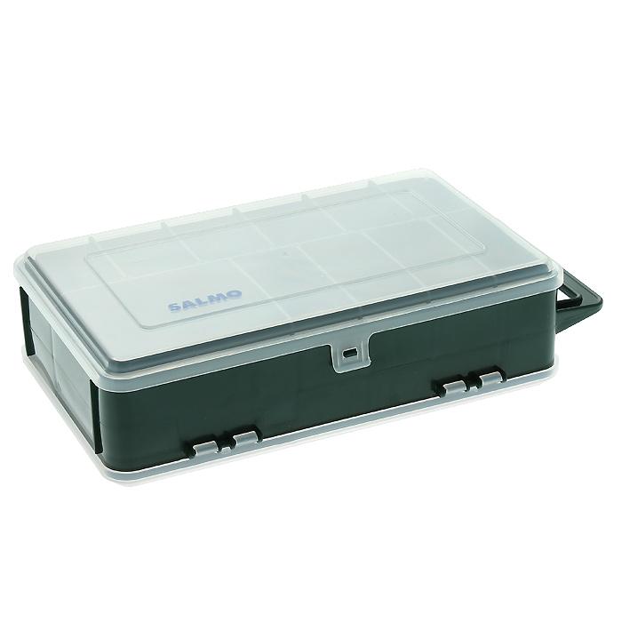 """Удобная коробка """"Salmo 82"""" для хранения и транспортировки приманок и рыболовных принадлежностей позволит максимально защитить ее содержимое от попадания загрязнений и влаги.Коробка выполнена из пластика и содержит два отделения. В одном отделении находятся десять отсеков, в другом - от 3 до 14, благодаря тому, что створки можно вынуть. Максимальное количество отсеков - 24. Коробка оснащена ручкой для транспортировки."""