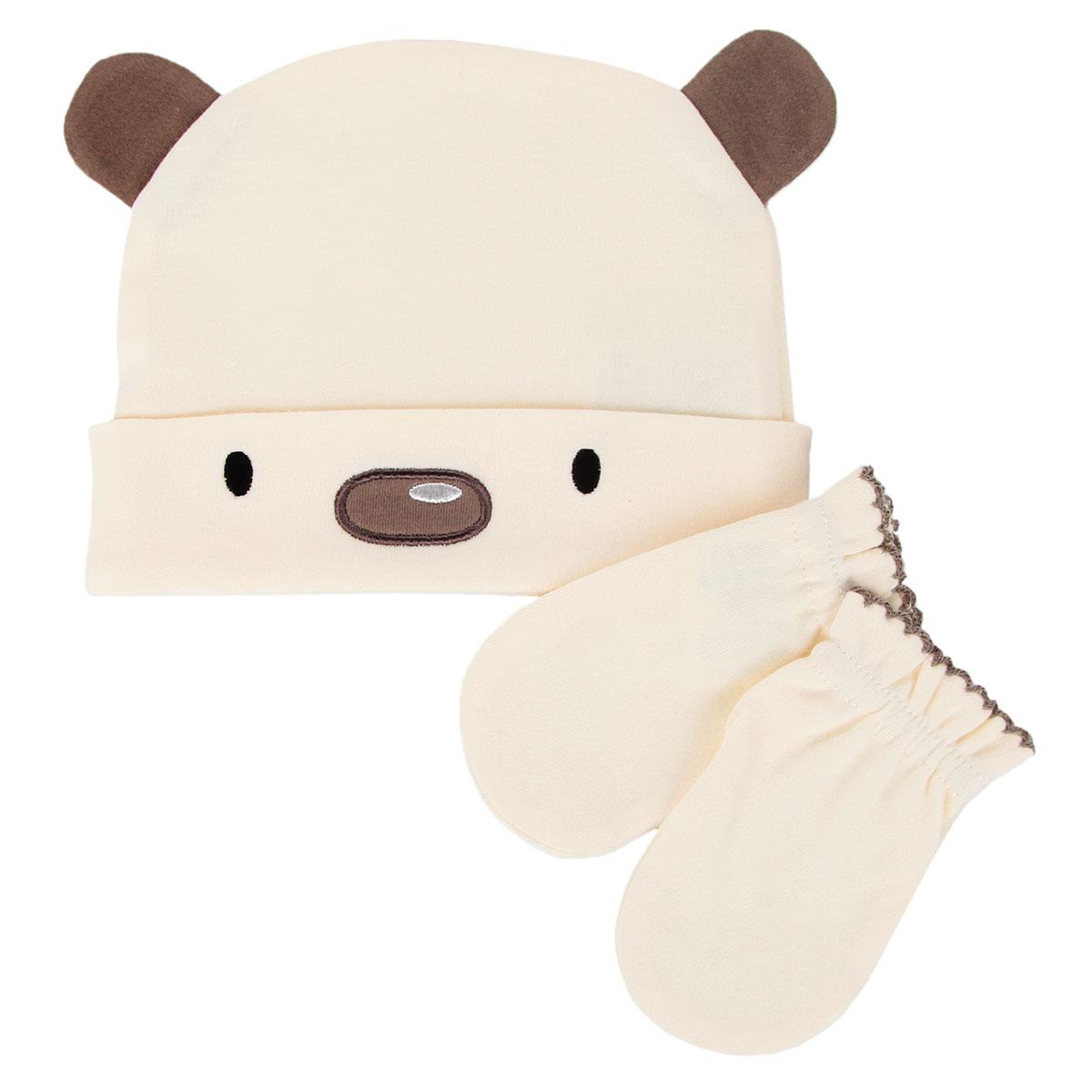 Комплект для мальчика Babydays Медвежонок: шапочка, рукавички, цвет: бежевый, коричневый. bd20007. Размер Nb (48/58), 0-3 месяца0501-001 BER_бежевый_48-58 см. (0-3, NB) МедвежонокКомплект лдя мальчика Babydays Медвежонок, состоящий из шапочки и рукавичек, идеально подойдет для вашего крохи. Плотный трикотажный материал (210 г/м) из натурального хлопка делает изделия качественными, прочными и износостойкими. Ткань хорошо впитывает влагу и обеспечивает проникновение кислорода к телу малыша через одежду. Ткань не линяет, не теряет своей яркости после многочисленных стирок.Шапочка с отворотом оформлена аппликацией в виде мордочки медвежонка и украшена декоративными ушками. Рукавички обеспечат вашему младенцу комфорт во время сна и бодрствования, предохраняя его нежную кожу от расцарапывания. Рукавички присборены на эластичные резинки и украшены ажурными петельками. В таком комплекте ваш ребенок всегда будет в центре внимания.