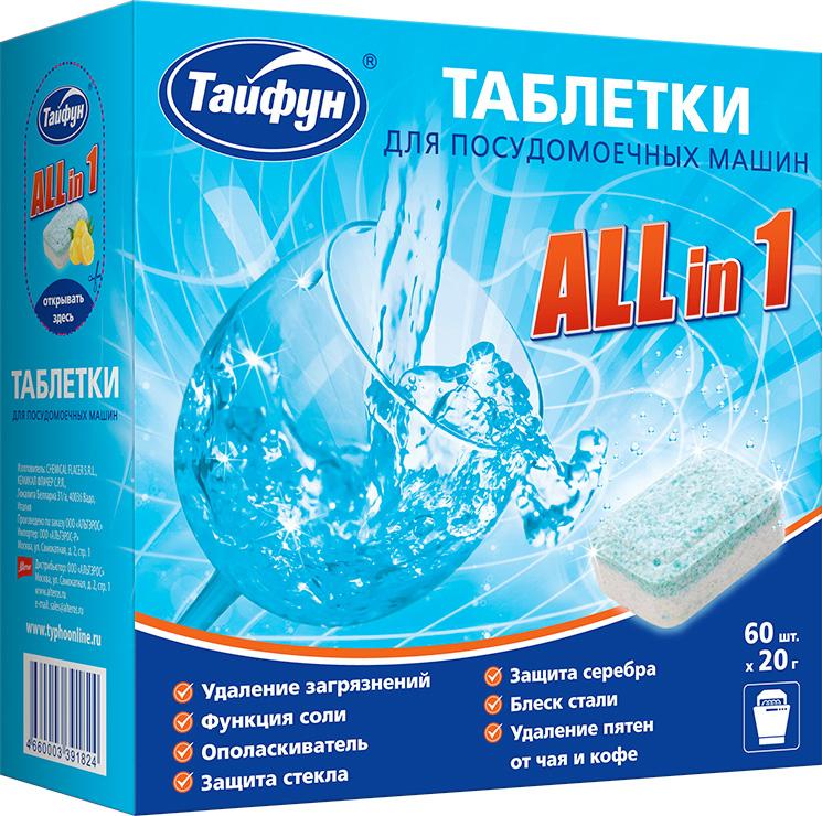 Таблетки для посудомоечных машин Тайфун All in1, 60 х 20 г391824Новейшая формула таблеток Тайфун All in 1 специально разработана для домашних посудомоечных машин всех типов. Эффективно очищают любые, даже застарелые загрязнения. Смягчают воду и защищают внутренние детали от накипи. Не оставляют на посуде разводов. Бережно очищают стеклянную посуду от пятен и помутнений. Защищают столовое серебро от помутнений. Придают особый блеск посуде и приборам из нержавеющей стали. Активный кислород удаляет пятна от чая и кофе.Состав: более 30% фосфатов, 5-15% отбеливатель на кислородной основе, менее 5% фосфонаты, неионные ПАВ, поликарбоксилаты, содержит энзимы, ароматизатор.Как выбрать качественную бытовую химию, безопасную для природы и людей. Статья OZON Гид