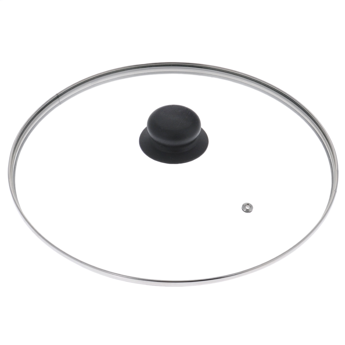 """Крышка """"LaraCook"""" изготовлена из термостойкого стекла. Обод, выполненный из высококачественной нержавеющей стали, защищает крышку от повреждений, а ручка, выполненная из термостойкого пластика, защищает ваши руки от высоких температур. Крышка удобна в использовании, позволяет контролировать процесс приготовления пищи. Имеется отверстие для выпуска пара."""