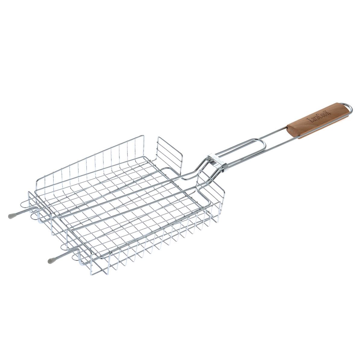 """Решетка-гриль """"Laracook"""" изготовлена из нержавеющей стали.  Приготовление вкусных блюд из рыбы, мяса или птицы на пикнике становится еще более быстрым и удобным с использованием решетки-гриль.  Верхняя прижимная сетка решетки регулируется по высоте и позволяет готовить продукты разной толщины. Высокие бортики не дадут упасть продуктам на угли при перевороте решетки. Решетка-гриль отлично подходит для мангала.  Удобная для обхвата деревянная ручка помогает легче переворачивать решетку и делает ее использование более безопасным.     Размер решетки: 25 см х 20 см х 5 см. Длина ручки: 37 см."""