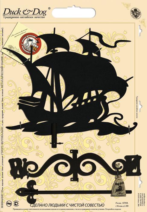 Флюгер Duck & Dog Корабль, 50 см х 100 смБФ.70015Флюгер Duck & Dog Корабль изготовлен из сплавов прочных металлов и покрыт специальной порошковой краской, что гарантирует долговечность срока службы. Флюгер поворачивается под воздействием ветра, а также указывает его направление. Такой метеоприбор отличается заметным изяществом. Флюгера - это украшение дома, некий элемент декора. Также их помещают на любые загородные сооружения, бани, беседки и т.д. В комплекте крепежные элементы.Размер фигурной части: 40 см х 50 см.