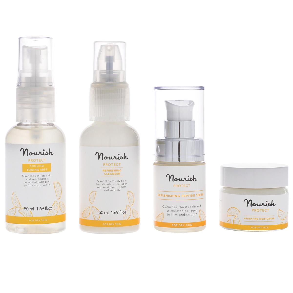 Nourish Набор миниатюр для ухода за лицом Protect, для сухой кожи: молочко, очищающее, тоник-мист, увлажняющий, крем для лица, увлажняющий, сыворотка для лица, питательнаяУТ000000999Набор миниатюр для ухода за лицом Nourish Protect для сухой кожи содержит молочко, тоник-мист, увлажняющий крем для лица ипитательную сыворотку. Набор уходовых средств для лица можно взять с собой в дорогу или положить в косметичку. А также это отличныйвариант для тех, кто любит новое и хочет познакомиться со средствами Nourish!Очищающее молочко Protect - нежная текстура в сочетании с легким цитрусовым ароматом, богатый питательный состав:- масло кожуры апельсина глубоко питает и увлажняет кожу, стимулирует лимфоток, очищает и стягивает поры;- масло кожуры мандарина тонизирует и освежает утомленную кожу, выравнивает рельеф эпидермиса, возвращает коже эластичность иупругость, разглаживает морщины, а также улучшает цвет и состояние кожи.Увлажняющий тоник-спрей Protect для сухой кожи лица с солнечным ароматом цитрусов рекомендован для ежедневного применения.Он может использоваться по мере необходимости в течение дня, а также в качестве вспомогательного средства при ежедневном уходе,например, после очищающего молочка, но перед использованием увлажняющего крема. Входящие в его состав масла кожуры апельсина и мандарина делают кожу более упругой и гладкой, помогают при борьбе с морщинами,снимает мышечное напряжение. Также обладают отбеливающим свойством, способствуют осветлению пигментных пятен. Регулируют pH-баланс кожи, освежают и увлажняют ее. Бодрящий аромат и уникальные свойства масел апельсина и мандарина в составе защитного увлажняющего крема Protect для сухойкожи - залог прекрасного самочувствия в период зимнего дефицита солнца, резкого снижения влаги в сухом воздухе помещений и на улице. На 84% состоит из органических компонентов.Благодаря дополнительным органическим маслам шиповника и подсолнечника крем естественным образом защищает питает, насыщает иувлажняет вашу кожу.Алоэ вера барб