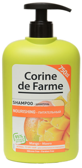 Corine De Farme Питательный шампунь с Манго, 750 мл14166Питательный шампунь с манго естественным образом питает и придает мягкость нормальным и сухим волосам. Состав обогащен манго и кокосовым молочком, которые питают волосы и восстанавливают их гладкость.