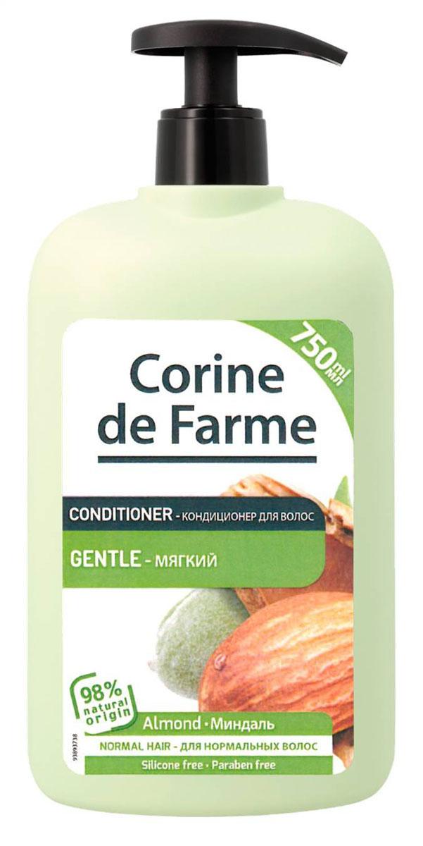 Corine De Farme Бальзам-ополаскиватель мягкий с миндалем, 750 мл14170Бальзам-ополаскиватель мягкий с Миндалем питает волосы делает их доровыми и блестящими. Обогащен экстрактом миндаля и медом. (экстракт миндаля содержит витамин С, витамины В1 и В2 и провитамин А. Мед содержит аминокислоты минералы, увлажняющие компоненты)
