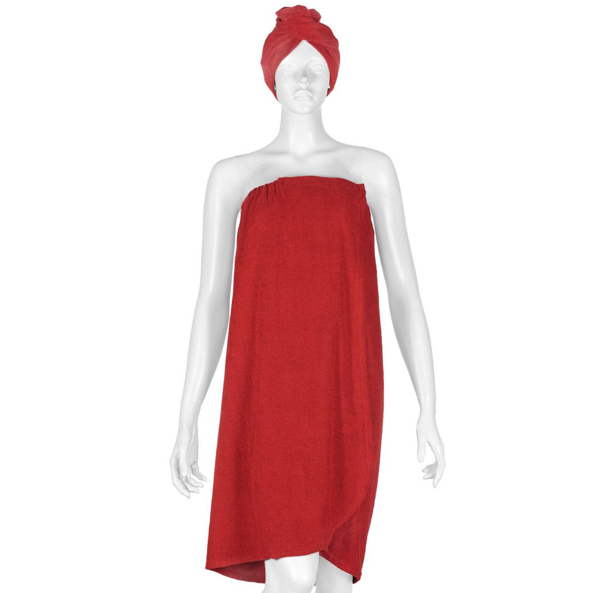 """Комплект женский для бани и сауны """"Главбаня"""",  цвет: красный, 2 предмета"""