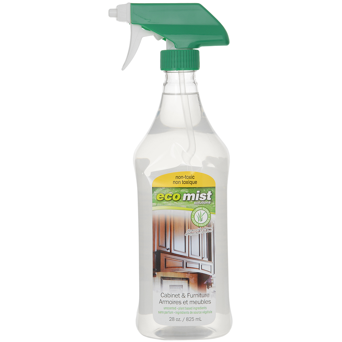 Средство для чистки мебели и уборки в кабинете Eco Mist, 825 млEM825XXFRTR06EFLСпециальное средство Eco Mist для удаления любых видов загрязнений, разводов, пыли с мебели, включая лакированную и из натурального дерева. Не оставляет следов после использования, а также предотвращает повторное оседание пыли. Не токсично. Без запаха. За счет активных полирующих свойств мебель надолго приобретает ухоженный вид, блеск и гладкость поверхностей.Состав: дехлорированная вода, кокос, различные экстракты, сахарный тростник, экстракт картофеля, кукуруза.