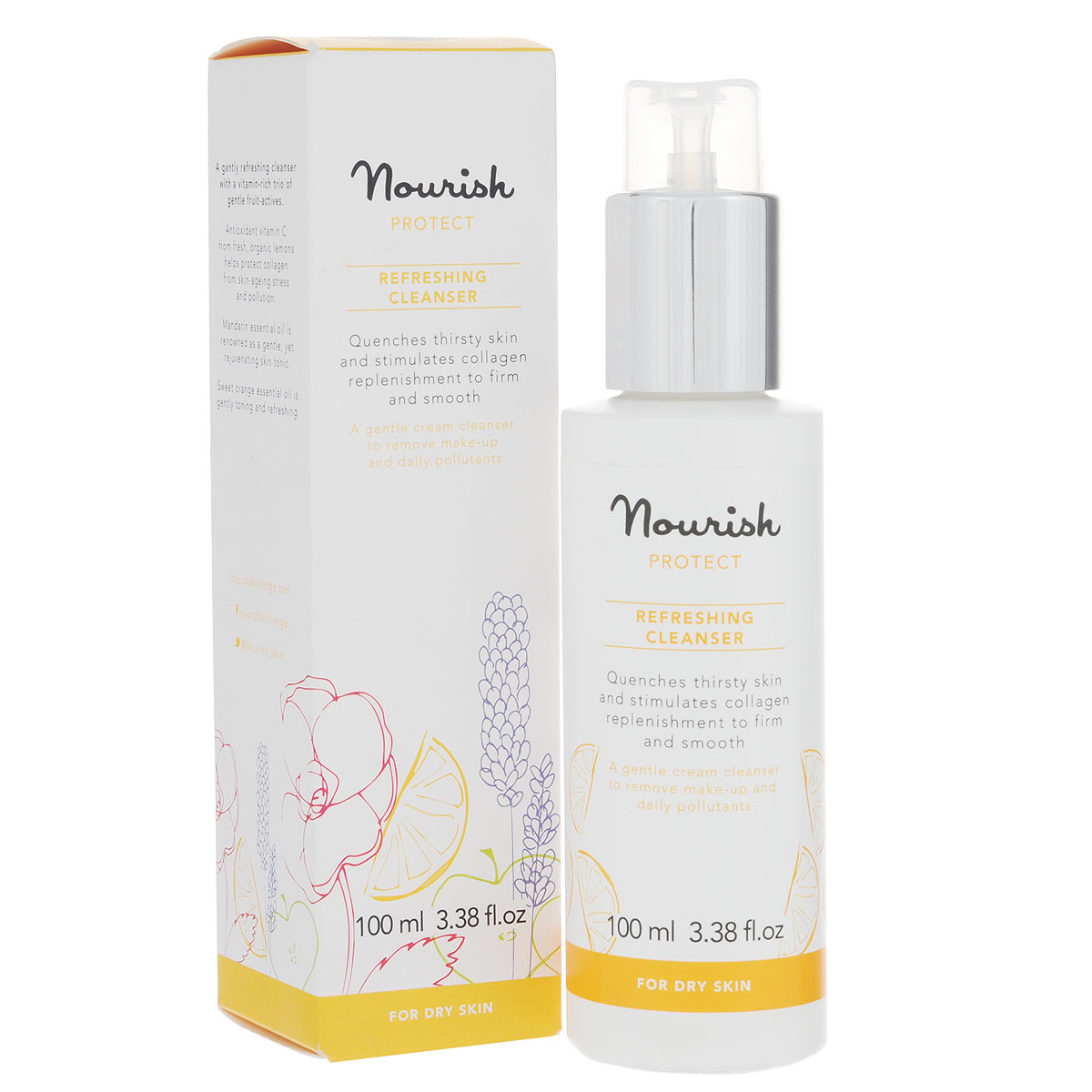 Nourish Молочко для лица Protect Refreshing Cleanser, очищающее, для сухой кожи, 100 мл nourish набор миниатюр для сухой кожей лица nourish protect mini kit 50 мл 50 мл 15 мл 15 мл