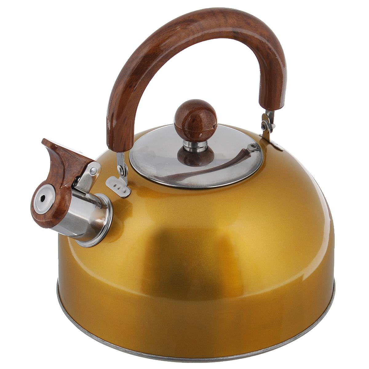 Чайник Mayer & Boch Modern со свистком, цвет: желтый, 2 л. МВ-3226МВ-3226Чайник Mayer & Boch Modern изготовлен из высококачественной нержавеющей стали. Гладкая и ровная поверхность существенно облегчает уход. Чайник оснащен удобной нейлоновой ручкой, которая не нагревается даже при продолжительном периоде нагрева воды. Носик чайника имеет насадку-свисток, что позволит вам контролировать процесс подогрева или кипячения воды. Выполненный из качественных материалов чайник Mayer & Boch Modern при кипячении сохраняет все полезные свойства воды.Чайник пригоден для использования на всех типах плит, кроме индукционных. Можно мыть в посудомоечной машине. Диаметр чайника по верхнему краю: 8,5 см. Диаметр основания: 19 см. Высота чайника (без учета ручки и крышки): 10 см.