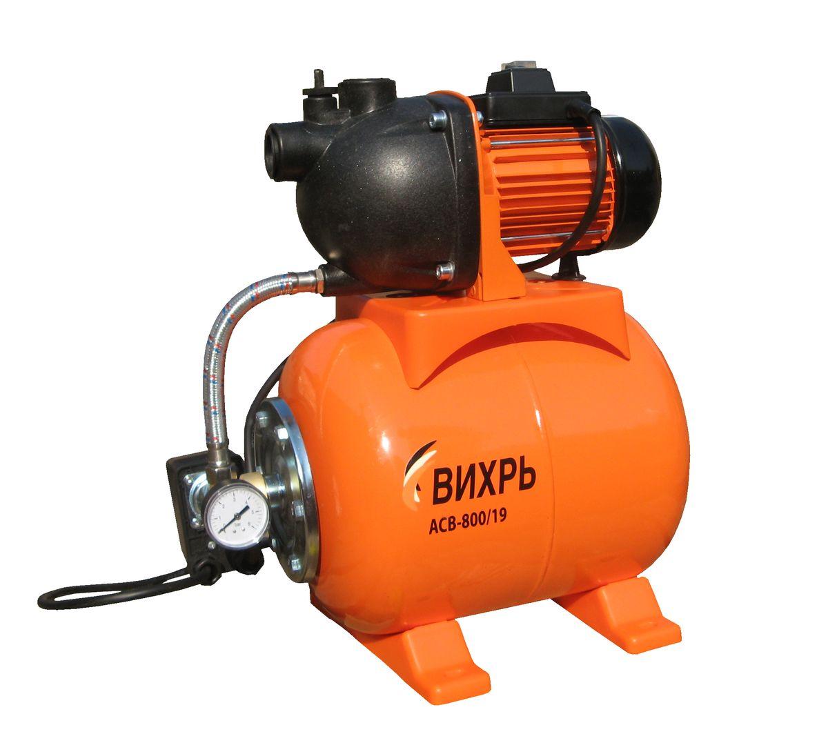 Насосная станция Вихрь АСВ-800/1968/1/5Насосная станция Вихрь АСВ-800/19 предназначена для бесперебойного водоснабжения в автоматическом режиме, коттеджей, дач, ферм и других потребителей. При этом она автоматически поддерживает необходимое давление в системе водоснабжения, самостоятельно включаясь и отключаясь по мере расходования воды потребителями.Встроенный датчик давления обеспечивает автоматическое включение насоса в случае необходимости. Гидроаккумулятор служит для аккумулирования воды под давлением и сглаживания гидроударов. Он состоит из стального резервуара со сменной мембраной из пищевой резины и имеет пневмоклапан для закачивания сжатого воздуха.Насос со встроенным эжектором, сочетает преимущества центробежных с практичностью самовсасывающих насосов. Встроенный внутренний эжектор с системой труб Вентури обеспечивает хорошие условия всасывания на входе в насос и позволяет создать высокое давление на выходе. Они позволяют перекачивать воду с меньшими, по сравнению с обычными центробежными насосами, требованиями к чистоте и наличию растворенных газов. Рабочее колесо и проточный блок направляющий аппарат - трубка Вентури - сопло выполнены из износостойких пластических материалов.Насосная станция не может использоваться на открытом воздухе при температуре окружающей среды ниже +1°С. Запрещается перекачивание горячей (выше +50°С) воды.Максимальное количество включений в час: 20Допустимая концентрация твердых частиц в перекачиваемой в воде: 150 г/м3Максимальная глубина всасывания: 9 мТип электродвигателя: асинхронный, однофазный с короткозамкнутым роторомТок питающей сети: однофазный переменныйНапряжение: 220 ВЧастота: 50 ГцПотребляемый ток: 3.6 А.