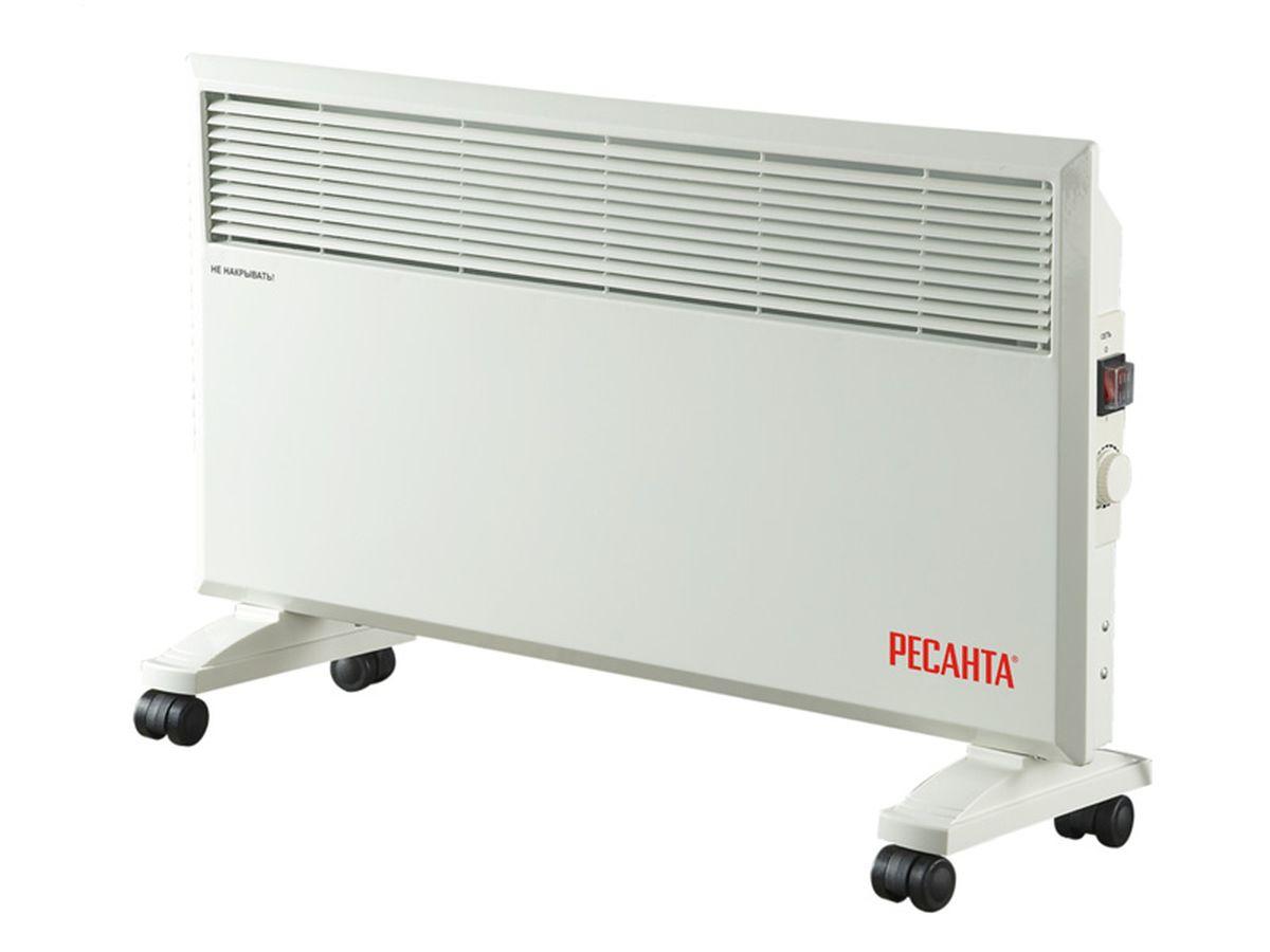 Ресанта ОК-1700 конвектор67/4/3Конвекционный обогреватель Ресанта ОК-1700. Прибор имеет функцию деления мощности наполовину и механический термостат, встроенный в корпус. Температура регулируется в пределах одного градуса.В принципе действия конвекционного обогревателя лежит естественный теплообмен. Проходя через нагревательный элемент, теплые воздушные массы поднимаются, освобождая место для холодного воздуха. Фронтальные выходные отверстия в конвекторе Ресанта ОК-1700 оптимальным способом регулируют направление потоков, не давая теплу уходить в стену. В комплект входят опорные ножки для напольной установки и колеса для удобства перемещения. При снятых колесиках конвекционный обогреватель можно повесить на стену.