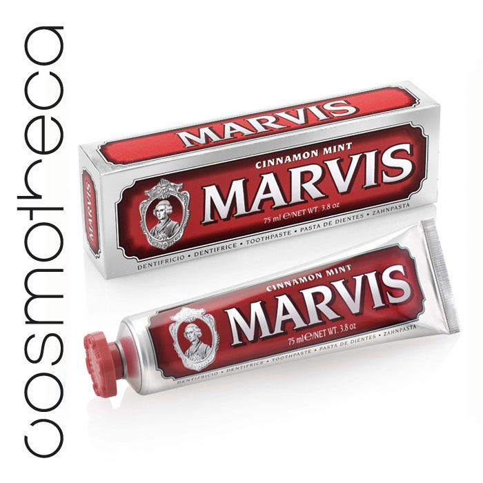Marvis Зубная паста Мята и Корица 75 мл411086Зубная паста Мята и Корица -это вкус экзотической сладости корицы и освежающей мяты. Предотвращая разрушение зубов, удаляет камень и зубной налет, мягко полируя зубы, не повреждая эмаль.