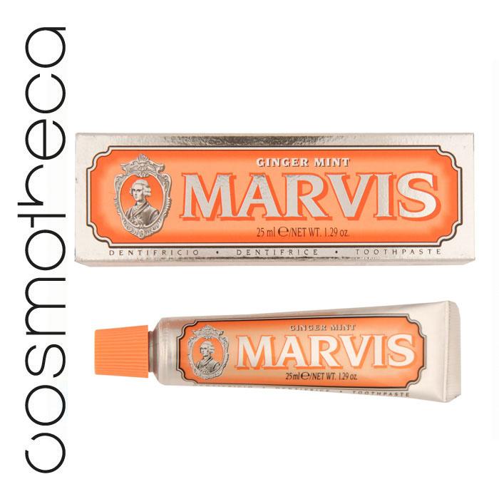 Marvis Зубная паста Мята и Имбирь 25 мл411093Зубная паста Мята и Имбирь  подарит Вам крепкие зубы, здоровые десны, свежее дыхание и отличное настроение на весь день. Фтор способствует укреплению зубной эмали, подавляя образование кислот бактериями зубного налета. Мягкие абразивные вещества нежно удаляют налет с зубов, не царапая эмаль, а мягко полируя ее.