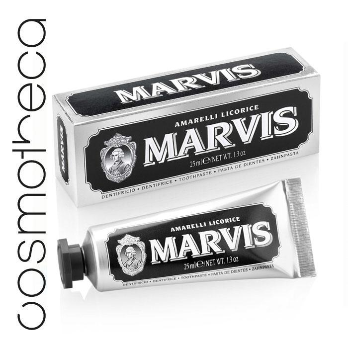 Marvis Зубная паста Лакрица Амарелли 25 мл411094Зубная паста Лакрица Амарелли освежает дыхание в течение всего дня, предотвращает появление кариеса, удаляет зубной налет, мягко полирует зубы, не повреждая эмаль.