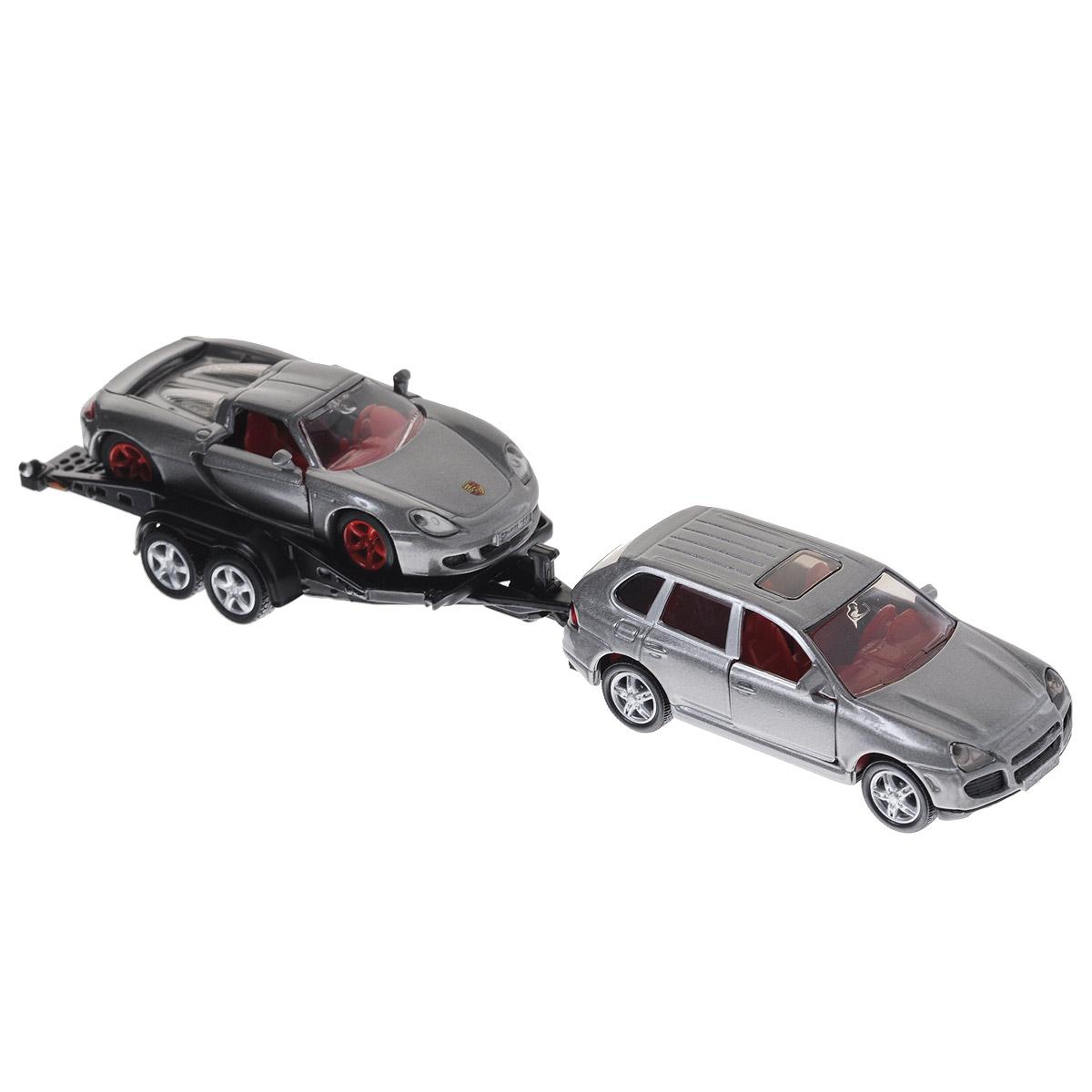 Siku Модель автомобиля Porsche Cayenne Turbo с прицепом и Porsche GT металлическая модель siku прицеп кузов 1965