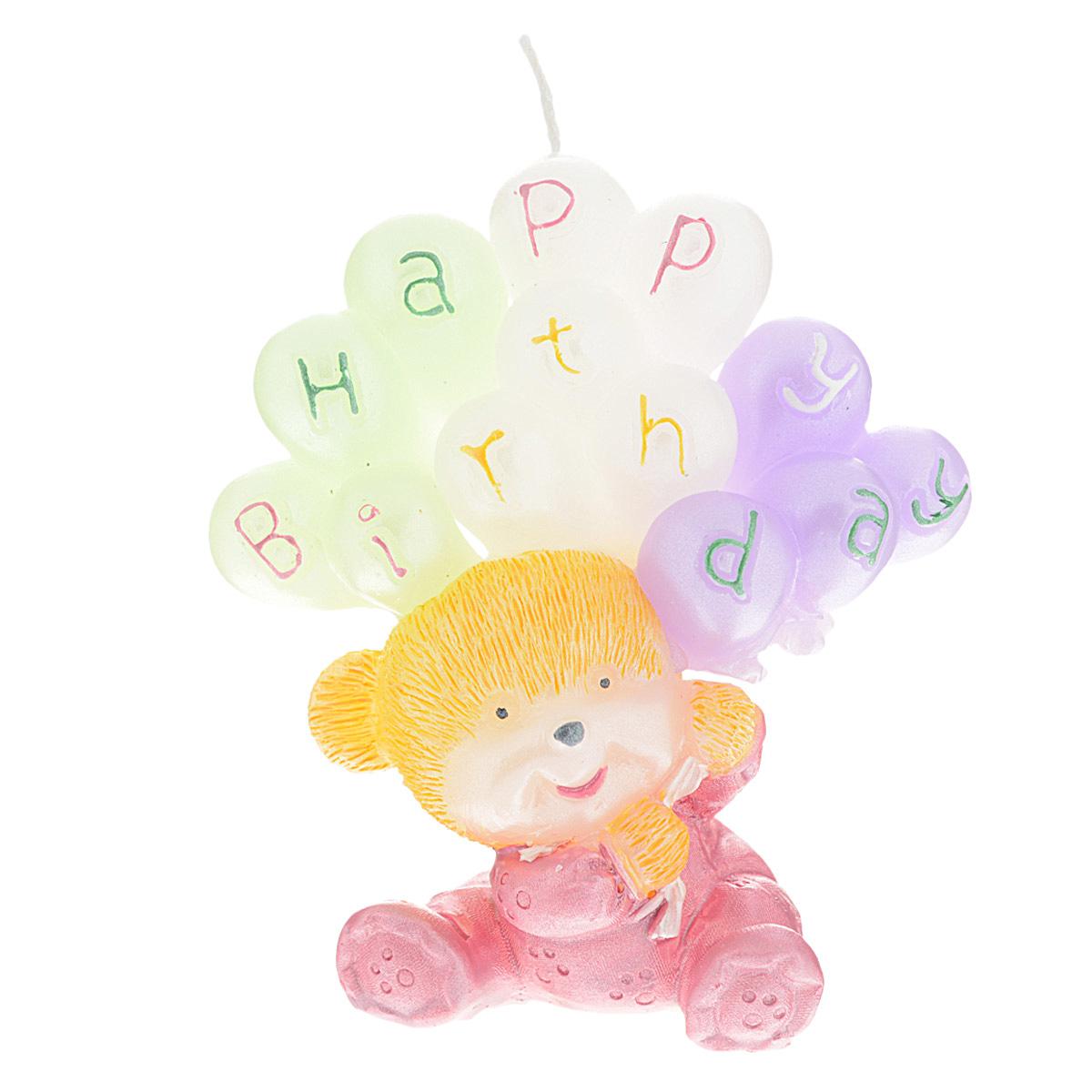 Свеча декоративная Win Max С днем рождения, цвет: розовый, 6 х 6 х 8 см свеча декоративная win max с днем рождения цвет розовый 6 х 6 х 8 см