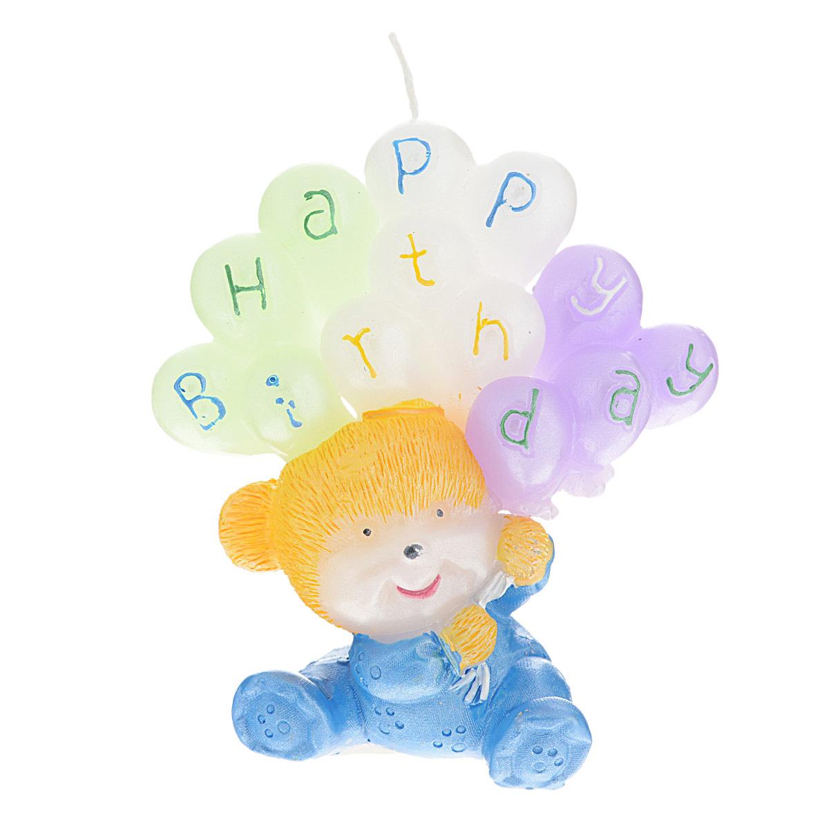 Свеча декоративная Win Max С днем рождения, цвет: голубой, 6 см х 6 см х 8 см. 94459 home religion свеча декоративная 50 см цилиндрическая 26003800