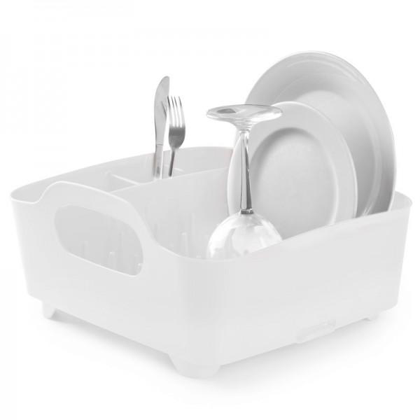 Сушилка для посуды Umbra Tub, цвет: белый, 34,5 х 37 х 18 см330590-660Сушилка для посуды Umbra Tub выполнена из полипропилена - высокопрочного нескользящего материала. Компактный дизайн изделия создает огромное пространство для хранения и сушки посуды. Несколько отсеков, которые позволяют уместить приборы, чашки, тарелки, и при этом они все будут на своем месте. В ней даже можно сушить бокалы и стаканы, благодаря специальным шипам, они не будут скользить. Сушилка ставится прямо в раковину. Благодаря ножкам, вода не будет застаиваться под сушилкой. Для удобства переноски изделие имеет удобные ручки.Размер сушилки: 34,5 см х 37 см х 18 см.