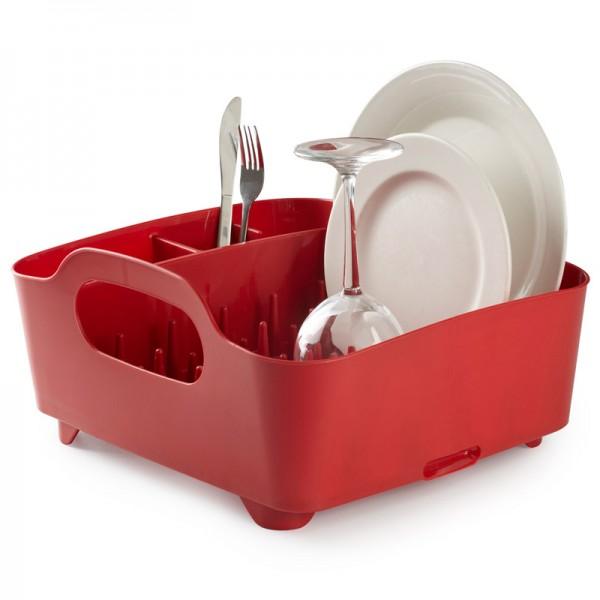 Сушилка для посуды Umbra Tub, цвет: красный, 34,5 см х 37 см х 18 см330590-505Сушилка для посуды Umbra Tub выполнена из полипропилена - высокопрочного нескользящего материала. Компактный дизайн изделия создает огромное пространство для хранения и сушки посуды. Несколько отсеков, которые позволяют уместить приборы, чашки, тарелки, и при этом они все будут на своем месте. В ней даже можно сушить бокалы и стаканы, благодаря специальным шипам, они не будут скользить. Сушилка ставится прямо в раковину. Благодаря ножкам, вода не будет застаиваться под сушилкой. Для удобства переноски изделие имеет удобные ручки.Размер сушилки: 34,5 см х 37 см х 18 см.