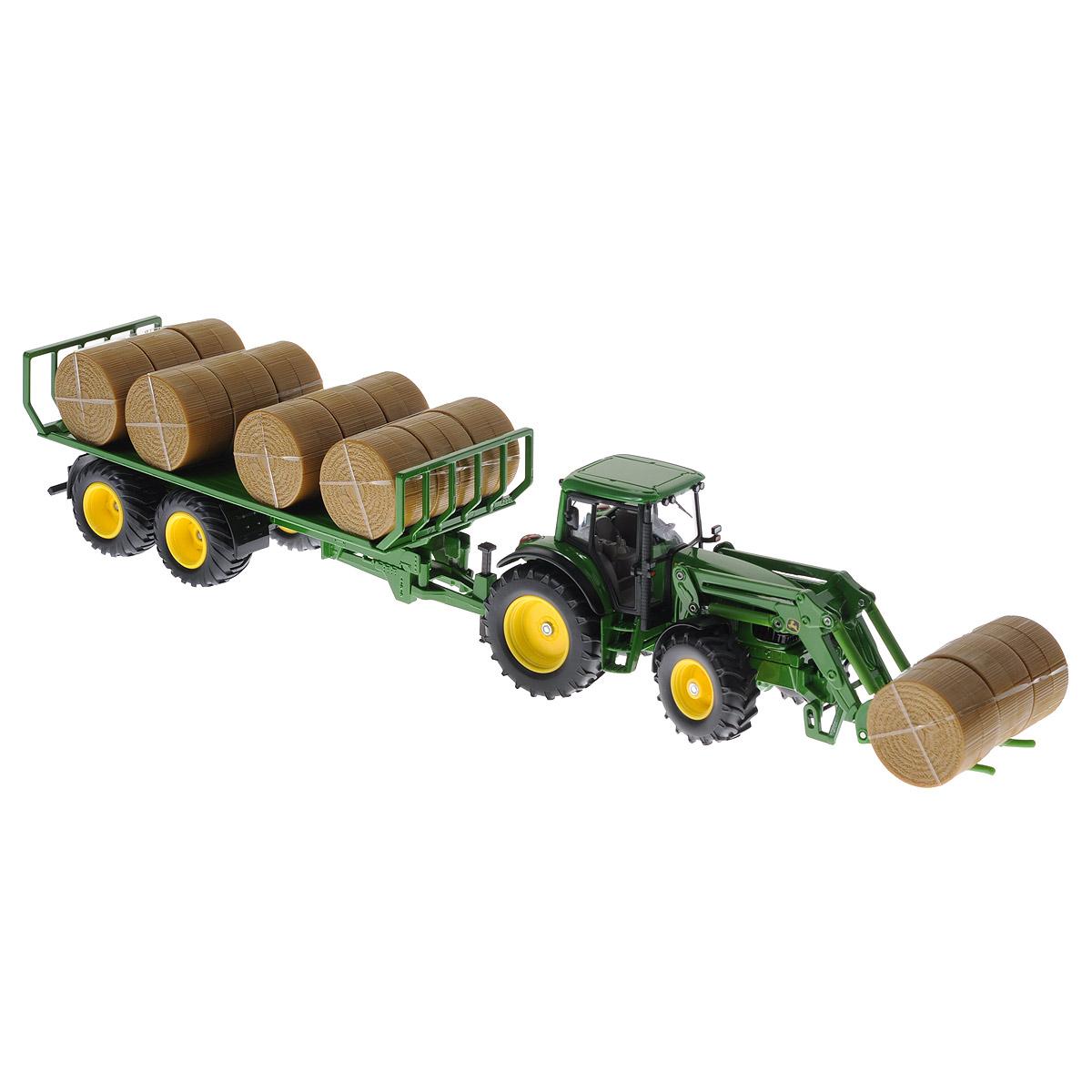 Siku Трактор John Deere с прицепом для круглых кип машины tomy трактор john deere 6830