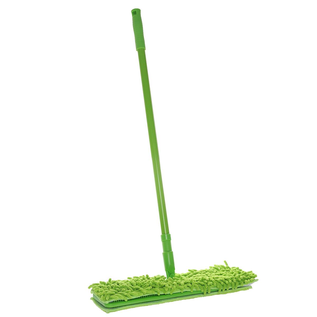 Швабра Home Queen Еврокласс, двухсторонняя, с телескопической ручкой, цвет: зеленый, длина 72-126 см57981Швабра Home Queen Еврокласс, выполненная из стали, полипропилена, идеально подходит для мытья всех типов напольных поверхностей: паркет, ламинат, линолеум, кафельная плитка. Материал насадки - шенилл (разновидность микрофибры) обладает высокой износостойкостью, не царапает поверхности и отлично впитывает влагу. Волокна микрофибры примерно в 100 раз тоньше человеческого волоса, а благодаря специальной технологии производства, каждое волокно расщепляется еще на 12-16 клиновидных нитей. Это дает микрофибре ряд существенных преимуществ перед натуральными волокнами, которые имеют круглое сечение. Одно из них то, что многочисленные поры между микроволокнами, благодаря капиллярному эффекту, мгновенно впитывают воду, подобно губке. Кроме того, сверхтонкое волокно микрофибры состоит из двух полимеров, соединенных в одну нить. Один из полимеров обладает свойством притягивать жирные и маслянистые вещества, таким образом, масло и жир прилипают непосредственно к волокнам насадки, что позволяет во многих случаях не использовать при уборке чистящие средства. Благодаря мелким порам микрововолокна, любые капельки, остающиеся на чистящей поверхности, очень быстро испаряются, и остается чистая дорожка без полос и разводов. Благодаря своей структуре, шенилловая насадка отлично моет углы. Телескопический механизм ручки позволяет выбрать необходимую вам длину, а также сэкономить место при хранении. Насадку можно стирать вручную или в стиральной машине с мягким моющим средством без использования кондиционера и отбеливателя, при температуре 60...90°С без кипячения.Длина ручки: 72 см - 126 см.Размер насадки: 41 см х 12 см х 4 см.