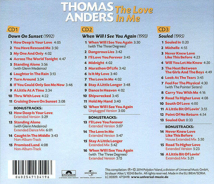 Thomas Anders.  The Love In Me (3 CD) ООО