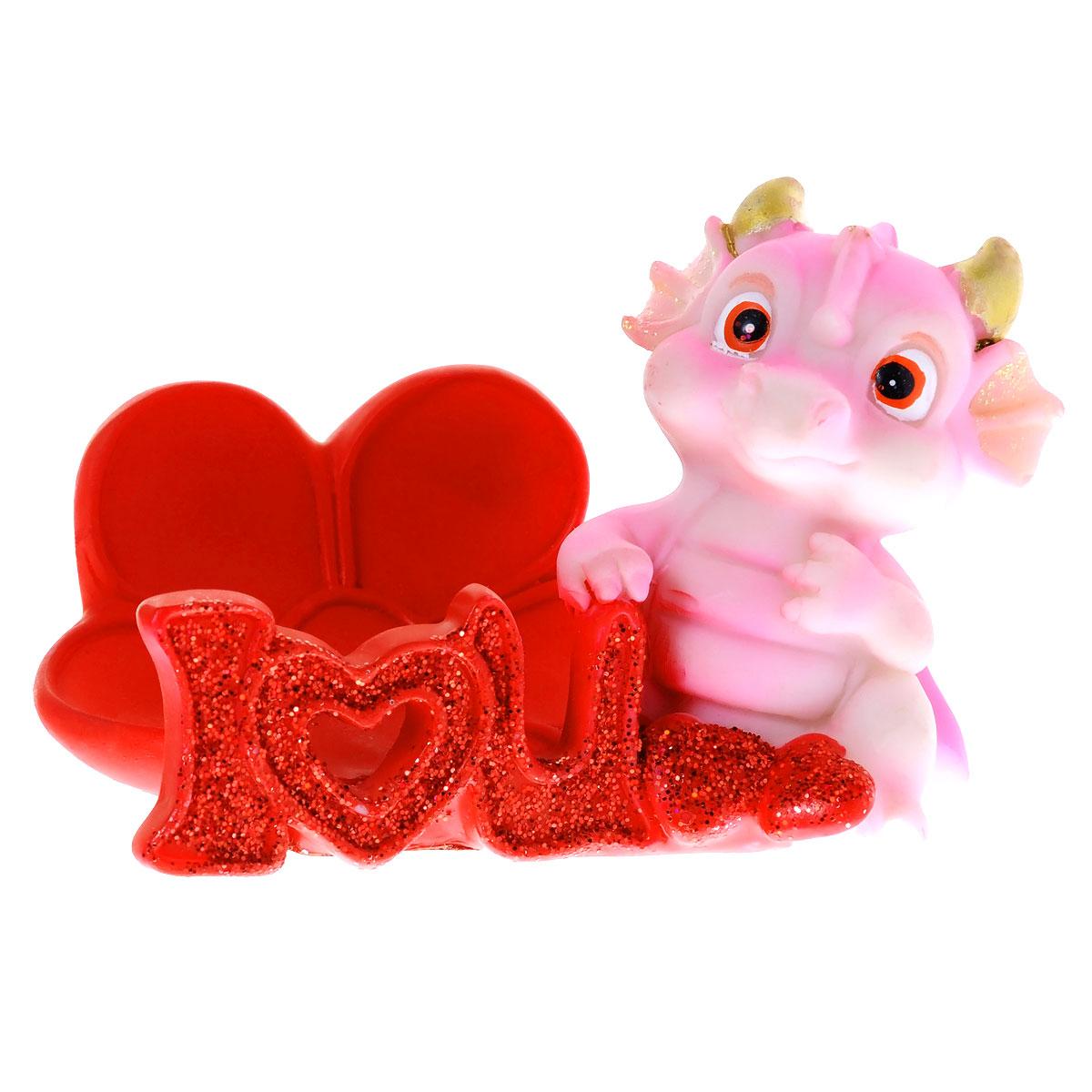 Статуэтка декоративная Lunten Ranta Розовый дракончик, с подставкой для телефона, цвет: красный, розовый статуэтка 25 х 9 х 14 5 см