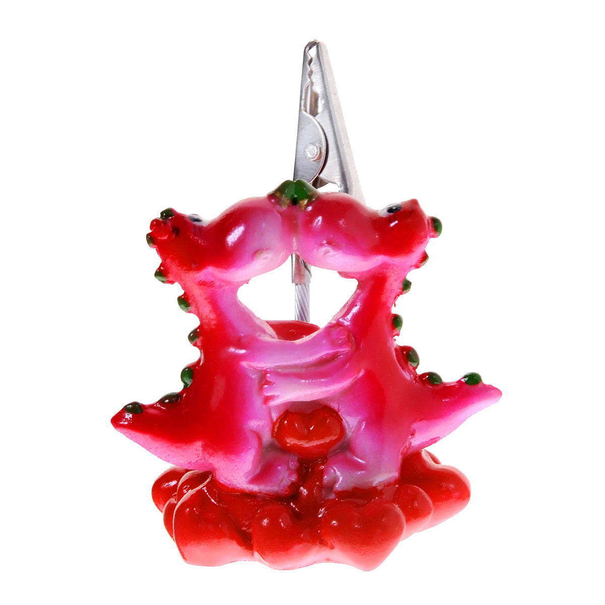 Статуэтка декоративная Lunten Ranta Влюбленные дракончики, с держателем для карточек, цвет: красный, розовый59101Очаровательная статуэтка Lunten Ranta Влюбленные дракончики станет оригинальным подарком для всех любителей стильных вещей. Она выполнена из полирезины в виде дракончиков с сердечком. Статуэтка оснащена металлическим держателем для карточек. Изысканный сувенир станет прекрасным дополнением к интерьеру. Вы можете поставить статуэтку в любом месте, где она будет удачно смотреться, и радовать глаз.