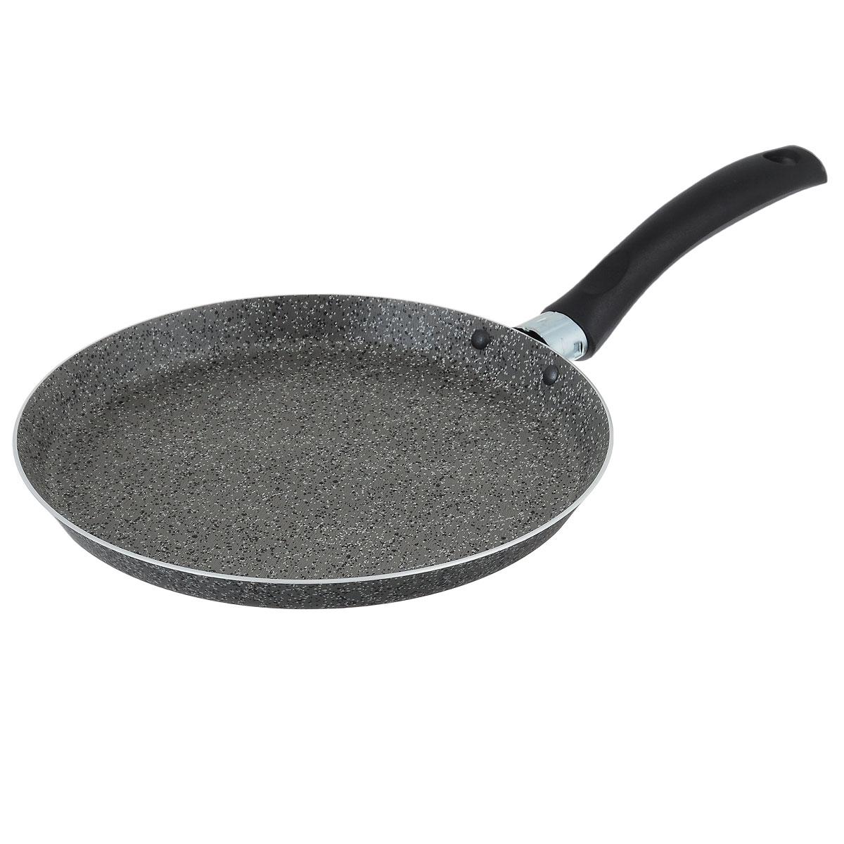 Сковорода для блинов Jarko Onyx, с антипригарным покрытием, цвет: серый. Диаметр 22 смJO-522-20Сковорода для блинов Jarko Onyx выполнена из алюминия с каменным антипригарным покрытием. Покрытие обладает превосходными антипригарными свойствами, не содержит PFOA, свинца и кадмия. Эргономичная ручка сковороды выполнена из бакелита.Сковорода подходит для всех типов плит, кроме индукционных. Можно мыть в посудомоечной машине. Диаметр дна сковороды: 22 см.Высота стенок сковороды: 2 см.Толщина стенок: 2,7 мм.Толщина дна: 2,7 мм.Длина ручки сковороды: 14 см.