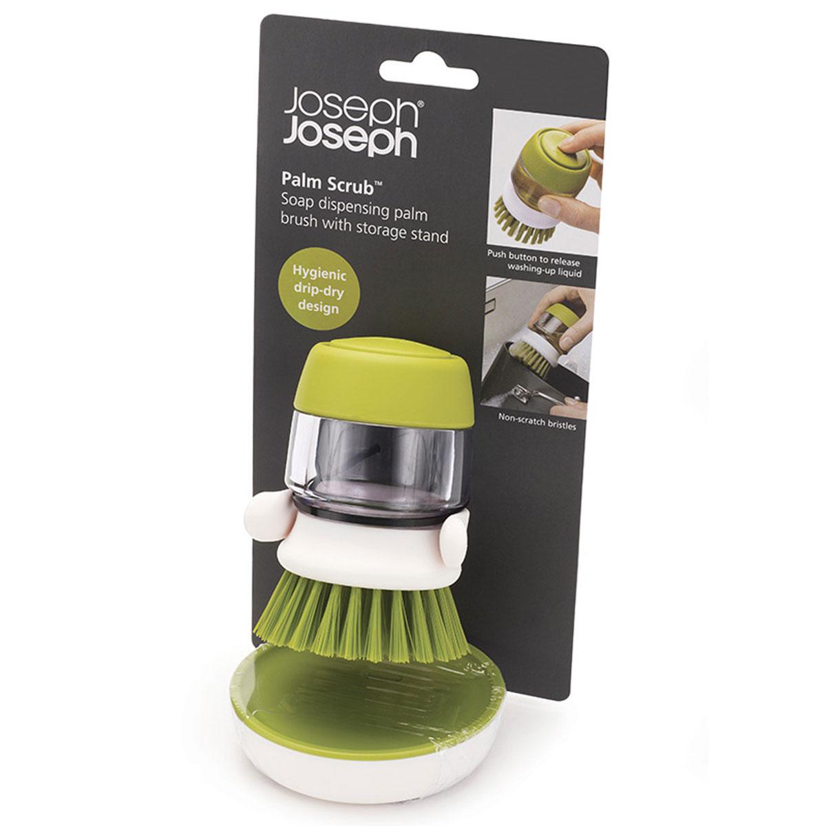 Щетка Joseph Joseph Palm Scrub, с дозатором моющего средства, цвет: зеленый, 9 см х 7 см